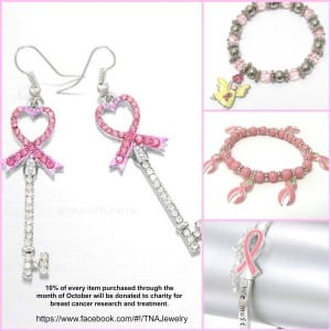 breast cancer jewelry collage
