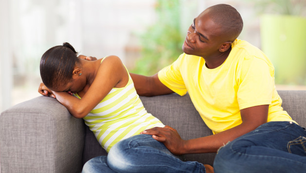 young african couple having problems