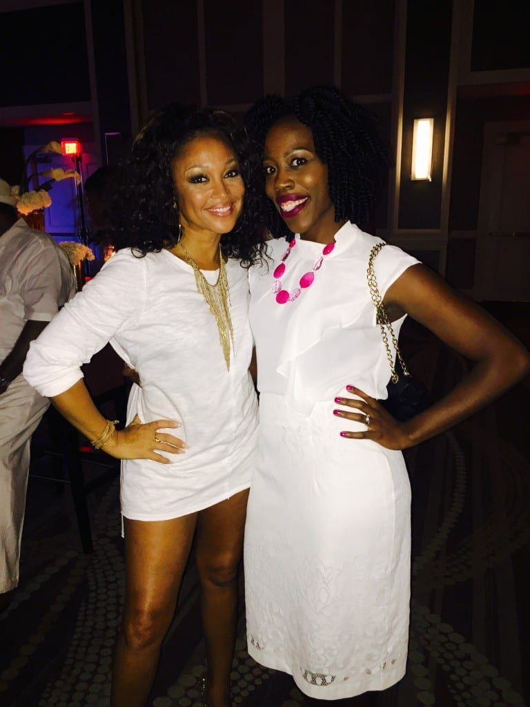 Hanging out with Chante Moore at the VIP White Party
