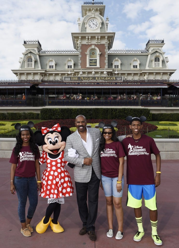 (L-R) Disney Dreamers Academy participants Danyscia Jarvis, of Riverview, Fla., Shanese Campbell of West Park, Fla., and Lionell Wright of Belle Isle, Fla. pose March 5, 2015 with Minnie Mouse and television personality Steve Harvey during Disney Dreamers Academy with Steve Harvey and Essence Magazine at Magic Kingdom in Lake Buena Vista, Fla. The eighth annual event, taking place March 5-8, 2015 at Walt Disney World Resort, is a career-inspiration program for 100 high school students from across the U.S. (Todd Anderson, photographer)