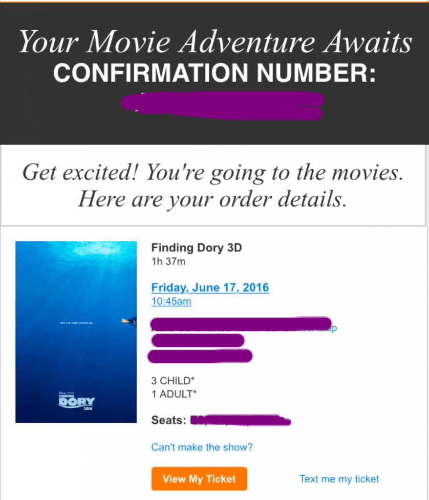 Finding Dory ticket confirmation
