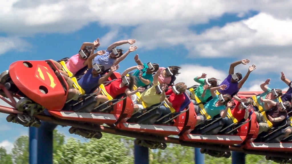 I'm pretty sure no one on our ride had their hands up like this though. Photo credit: Six Flags America