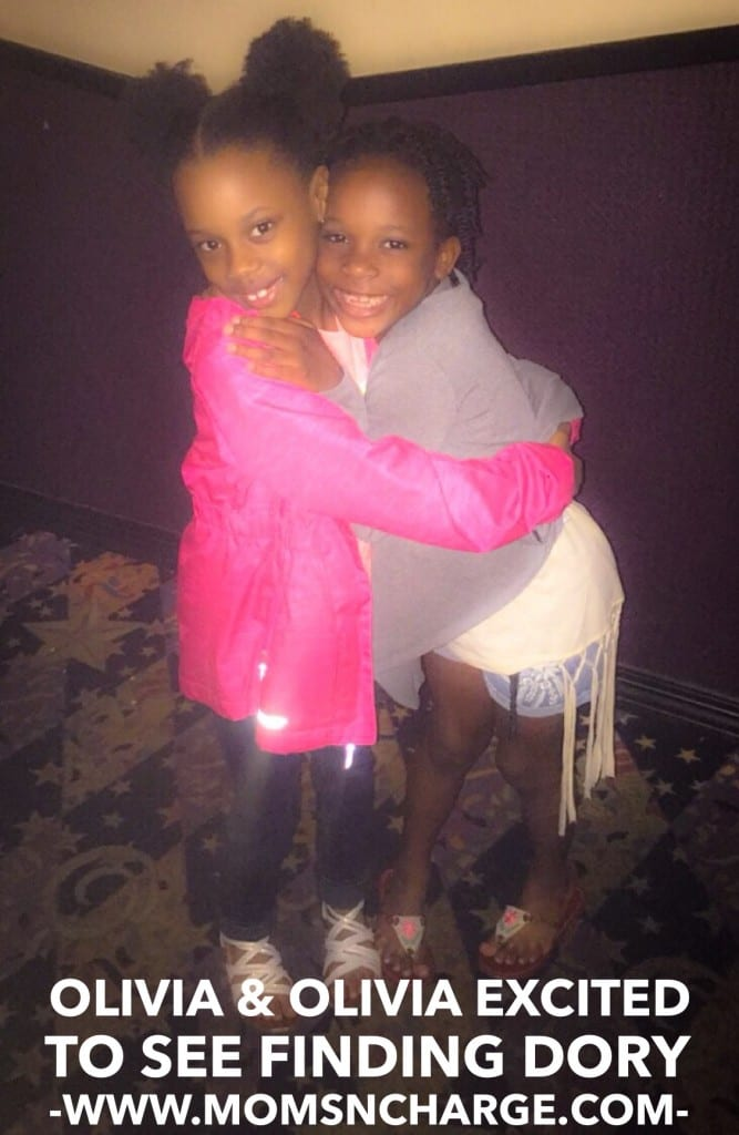 My Olivia (left) with her friend Olivia right before entering the theater.