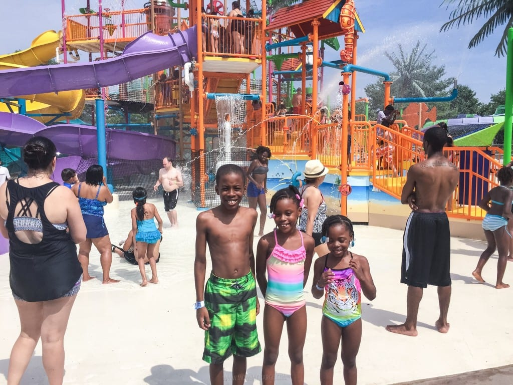 The kiddos getting ready to head into the waterpark.