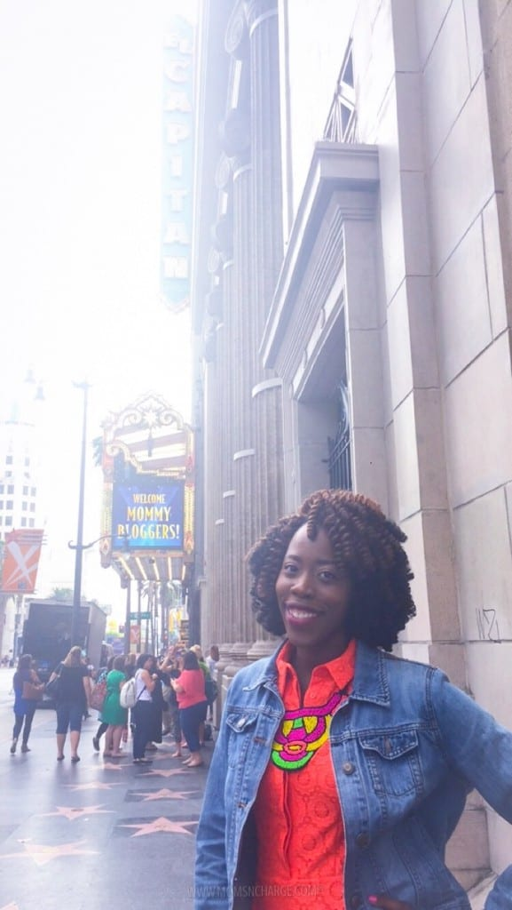 """Walking towards the El Capitan theatre and were greeted with """"Welcome Mommy Bloggers"""""""