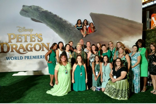 Bloggers gather on the red carpet for the world premiere of Disney's Pete's Dragon.