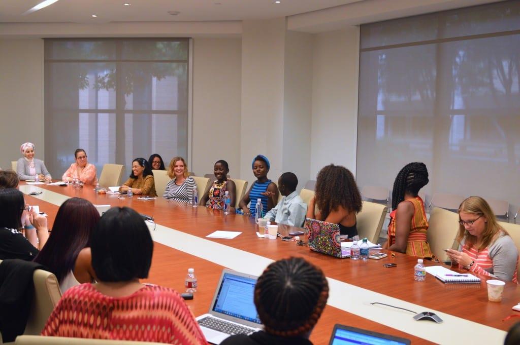 Blogger interview with Madina Nawlanga, Lupita N'yong'o and Martin Kabanza (Photo credit: Carol Jones / AllMommyWants.com)