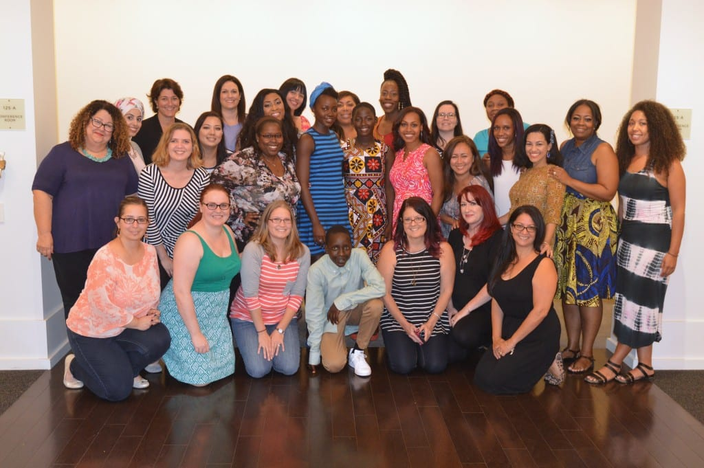 Group blogger photo with the stars of Queen of Katwe: Lupita Nyong'o, Martin Kabanza (Photo credit: Carol Jones / AllMommyWants.com)