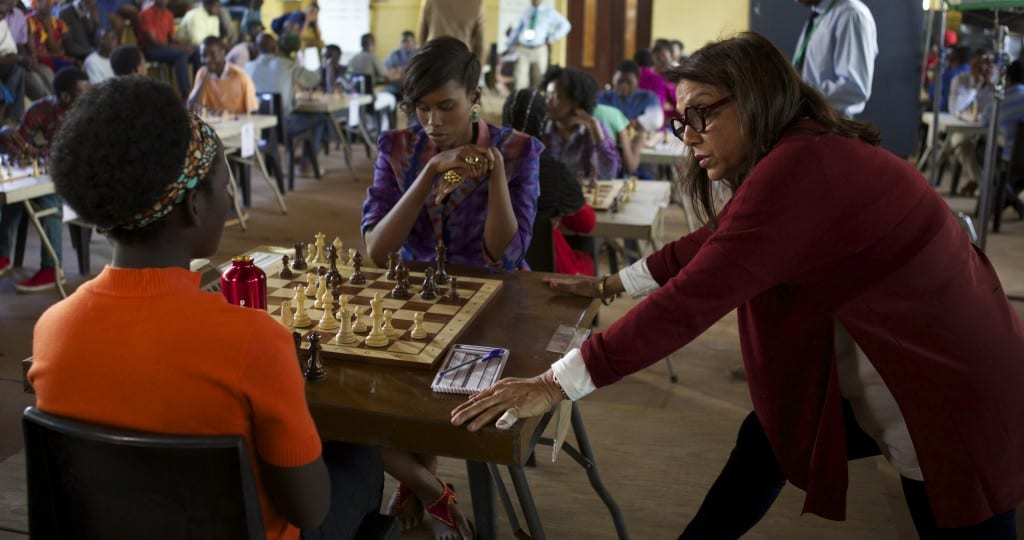 Director Mira Nair on the set of Disney's QUEEN OF KATWE with Madina Nalwanga. The film is based on a true story of a young girl from the streets of rural Uganda whose world changes when she is introduced to the game of chess, the film also star Oscar (TM) winner Lupita Nyong'o.