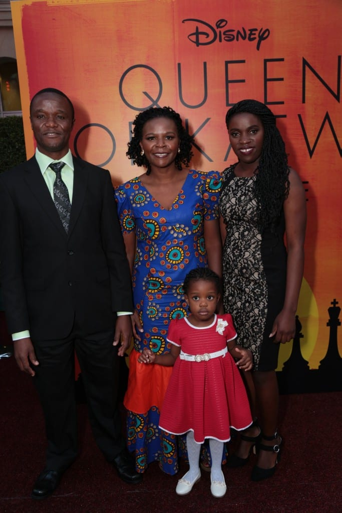 Robert Katende, Sara Katende, Phiona Mutesi and Hope Katende arrive at the U.S. premiere of DisneyÕs ÒQueen of KatweÓ at the El Capitan Theatre in Hollywood, CA on Tuesday, September 20, 2016. The film, starring David Oyelowo, Oscar winner Lupita NyongÕo and newcomer Madina Nalwanga, is directed by Mira Nair and opens in U.S. theaters in limited release on September 23, expanding wide September 30, 2016...(Photo: Alex J. Berliner/ABImages)