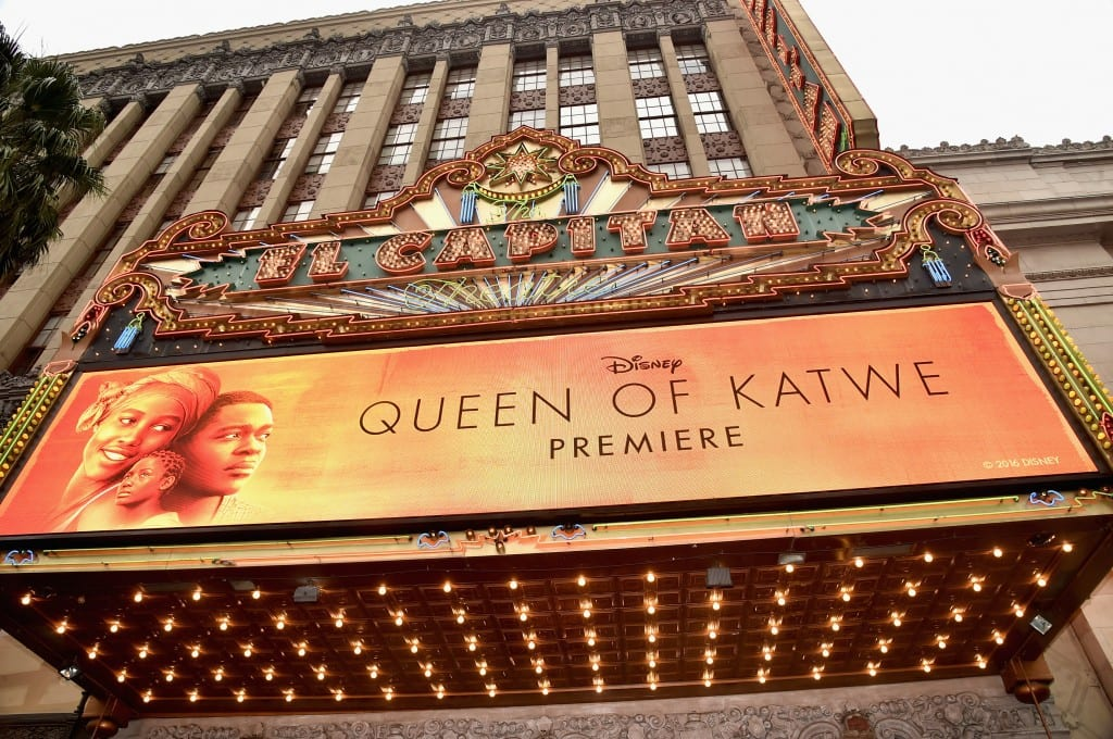 """HOLLYWOOD, CA - SEPTEMBER 20: A view of the atmosphere at the U.S. premiere of Disney's """"Queen of Katwe"""" at the El Capitan Theatre in Hollywood. The film, starring David Oyelowo, Oscar winner Lupita Nyong'o and newcomer Madina Nalwanga, is directed by Mira Nair and opens in U.S. theaters in limited release on September 23, expanding wide September 30, 2016. On September 20, 2016 in Hollywood, California. (Photo by Alberto E. Rodriguez/Getty Images for Disney)"""