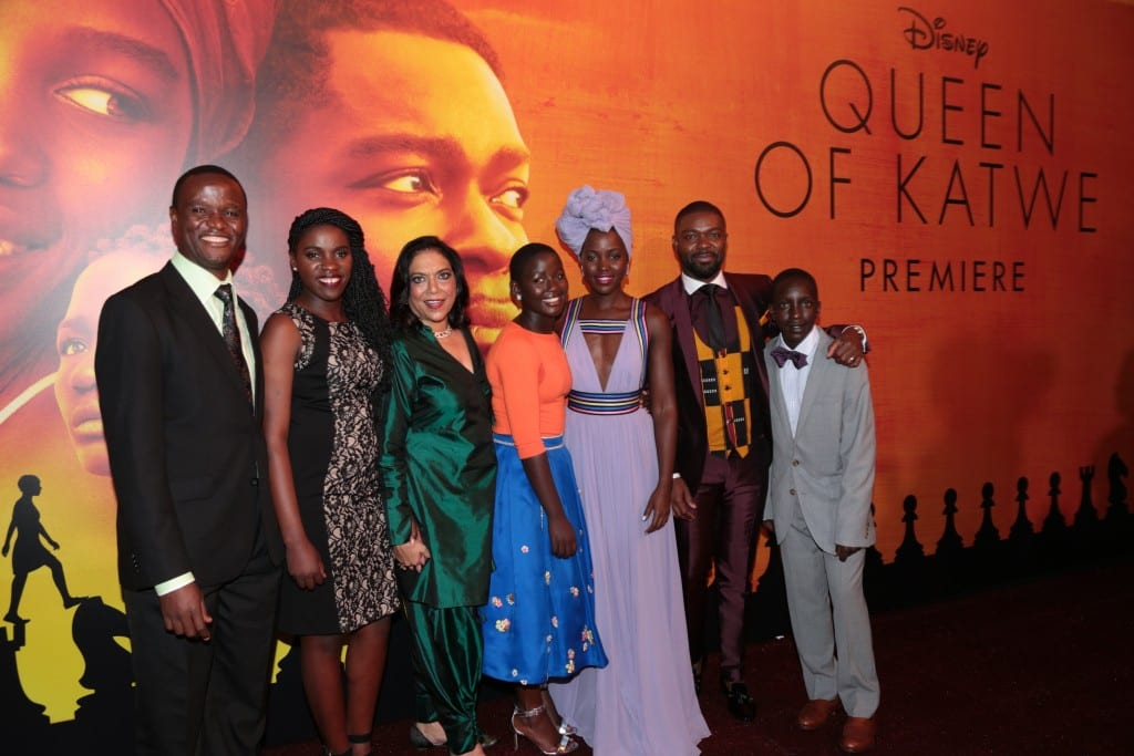 Robert Katende, Phiona Mutesi, Mira Nair, Madina Nalwanga, Lupita Nyong'o, David Oyelowo and Martin Kabanza arrive at the U.S. premiere of DisneyÕs ÒQueen of KatweÓ at the El Capitan Theatre in Hollywood, CA on Tuesday, September 20, 2016. The film, starring David Oyelowo, Oscar winner Lupita NyongÕo and newcomer Madina Nalwanga, is directed by Mira Nair and opens in U.S. theaters in limited release on September 23, expanding wide September 30, 2016...(Photo: Alex J. Berliner/ABImages)