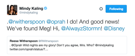 Mindy Kaling Tweet a wrinkle in time