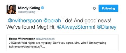 Mindy Kaling Tweet a wrinkle in time
