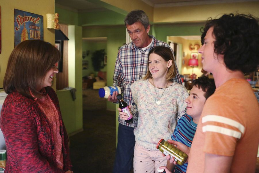 "THE MIDDLE – ""The Core Group"" – Frankie and Mike are excited to meet April (Greer Grammer) – the love of Axl's life – but discover that love may indeed be blind when April reveals a quirky personality trait. Meanwhile, after getting bit by the acting bug while working at Dollywood over the summer, Sue wants to change her major to theater, and Brick is starting high school and making it his mission to try for a fresh start and not be considered one of the weird kids, on the season premiere of ""The Middle"" on its new night, TUESDAY, OCTOBER 11 (8:00-8:30 p.m. EDT), on the ABC Television Network. (ABC/Michael Ansell) PATRICIA HEATON, NEIL FLYNN, EDEN SHER, ATTICUS SHAFFER, CHARLIE MCDERMOTT"