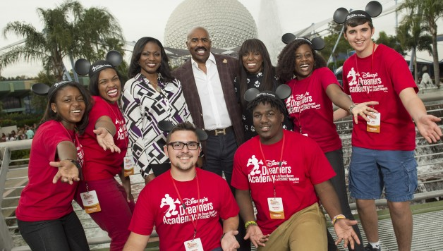 Disney Dreamers from Florida pose with (L-R) Tracey D. Powell, Disney executive champion of DisneyÕs Dreamers Academy, Steve Harvey and Mikki Taylor, editor-at-large for Essence Magazine, during the 2016 Disney Dreamers Academy with Steve Harvey and Essence Magazine at Epcot in Lake Buena Vista, Fla. The ninth annual event March 3-6, 2016, at Walt Disney World Resort is a career-inspiration program for distinguished high school students across the U.S. (David Roark, photographer)