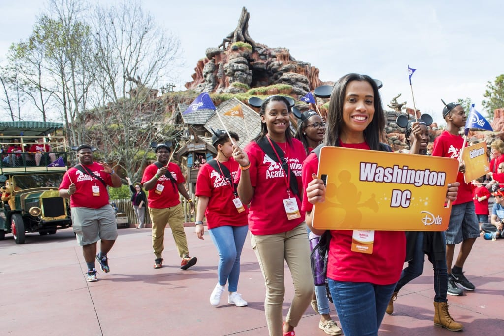 High school students kick off a special parade March 3, 2016 saluting Disney Dreamers Academy with Steve Harvey and Essence Magazine at Magic Kingdom in Lake Buena Vista, Fla. The ninth annual event, taking place March 3-6, 2016 at Walt Disney World Resort, is a career-inspiration program for distinguished high school students from across the U.S. (Ryan Wendler, photographer)