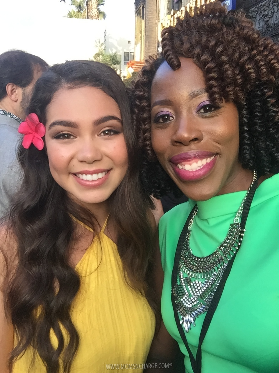 Auli'i Cravalho and I on the red carpet of Pete's Dragon World Premiere.