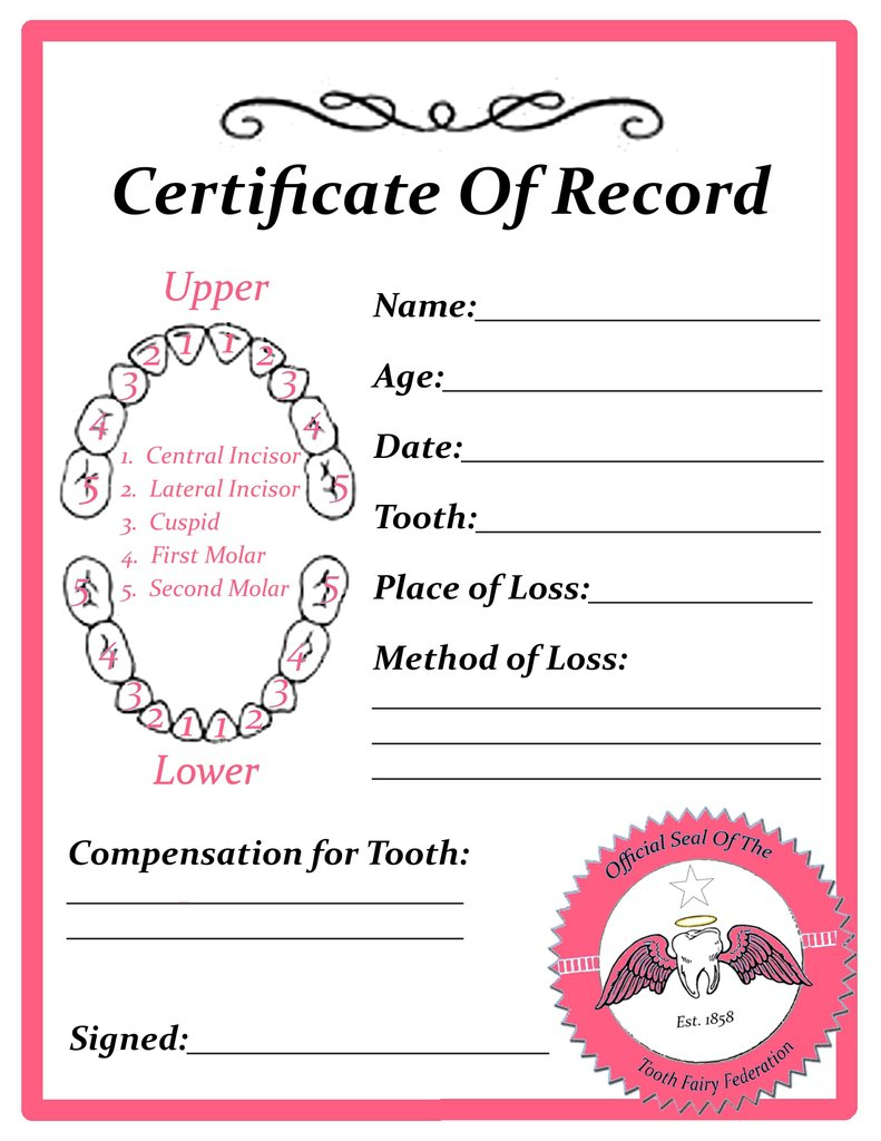 Tooth fairy printable tooth fairy certificate template free go what does your tooth fairy pay xflitez Choice Image
