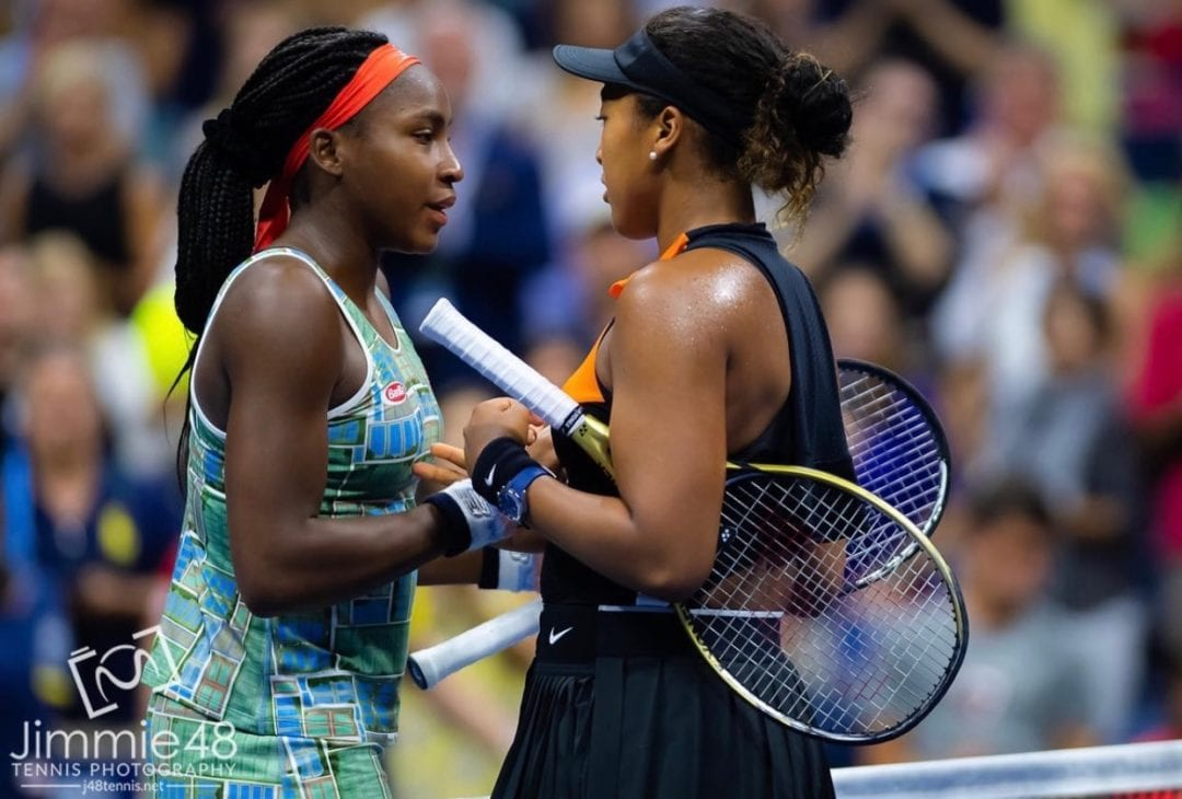 Naomi Osaka and Coco Gauff share a moment at the US Open; photo by Jimmie48